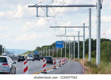 Building lot of first test track of electric track for trucks near Darmstadt, Hesse, Germany