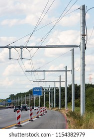 Building lot of first test track of electric track for lorries near Darmstadt, Hesse, Germany