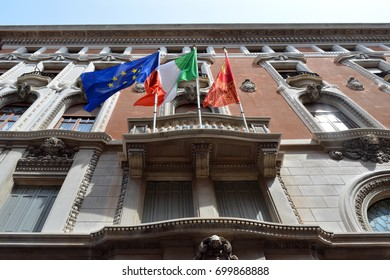 Building with the flags of Italy, Venice and European Union