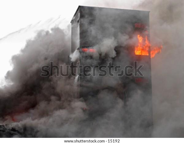 Building in flames