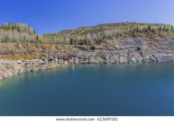 Building at a flooded quarry