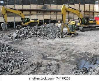 building a foundation with backhoes