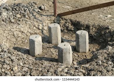 Building foundation base under construction
