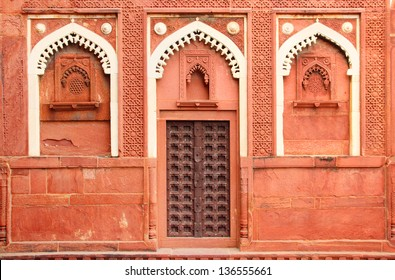 building fragment with door in red fort Agra India