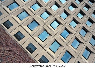 Building full of windows. Modern architecture.