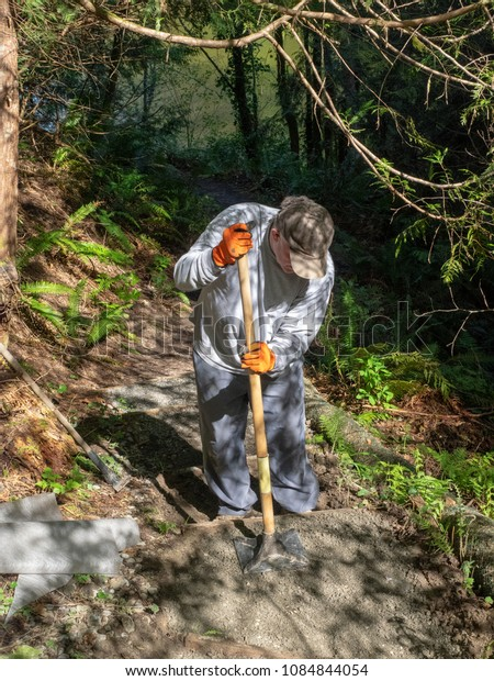 Building a hiking path in the wilderness