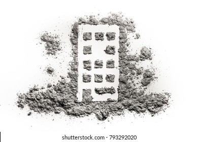 Building or home silhouette drawing in ash or dust as natural disaster, fire catastrophe, demolition ruin, terrorist attack or war damage concept, accident insurance, fear and danger background