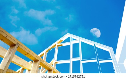 Building a house made of moonwood. Special durable wood. Frame construction. House construction visualization project.