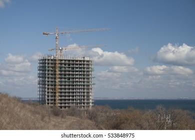 Building a house near the sea.