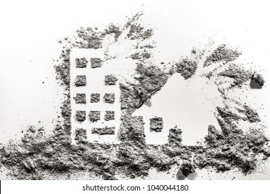 Building and house under bombing silhouette drawing made in ash or dust as war crime, terrorism, demolition, catastrophe, destruction concept