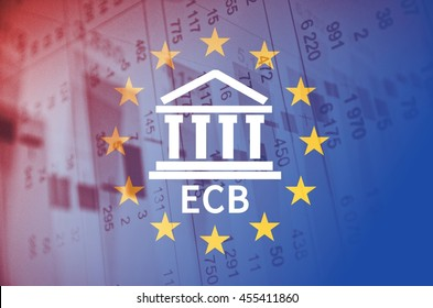 Building icon with inscription ECB and flag of The European Union over financial background.
