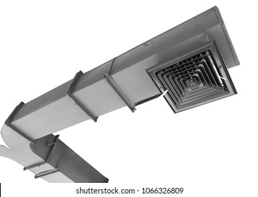 Building interior Air Duct, Air Condition pipe line system Air flow isolated on white background and clipping path.