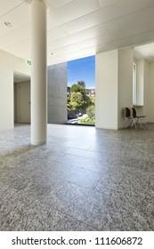 building interior, granite floor, white wall