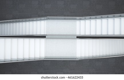 Building interior. Two flights of stairs going in different directions. Concept of various routes to success in business and life. 3d rendering. Mock up. Top view.