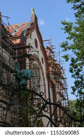 The building of the Jewish Synagogue, restoration work. Serbia, Subotica, April 29, 2018
