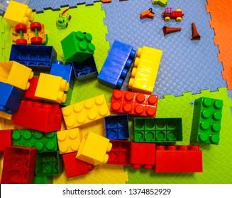 building kit. details of a different form from plastic color children's designer for construction.