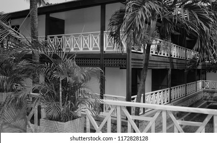 Building of Labadi Beach Hotel in Accra. Relax at a luxury resort. Black & White Photography. Architecture in modern tropical style. Travel and vacation in West Africa. Ghana, Accra – Jan 08, 2017