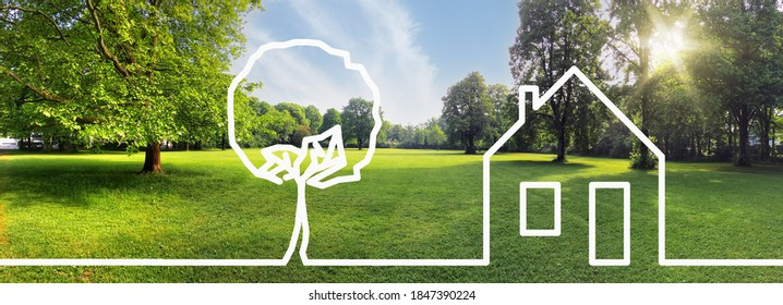 Building land for new construction project on green meadow, plot for construction area - Shutterstock ID 1847390224