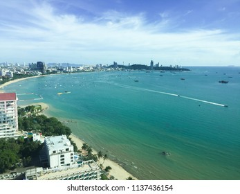 Building landscape and beautiful Beach and sea view from high building in Pattaya - Thailand
