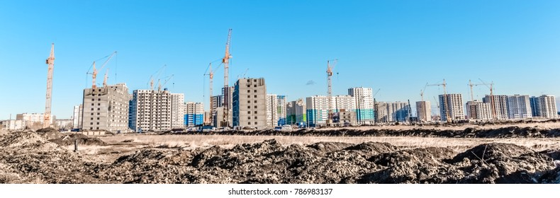Building landscape and huge crane