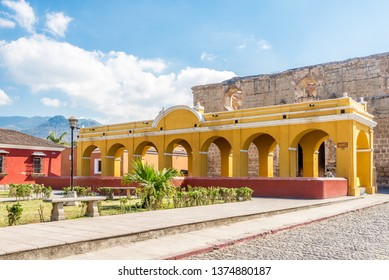 Building of laundry in the streets of Antigua Guatemala