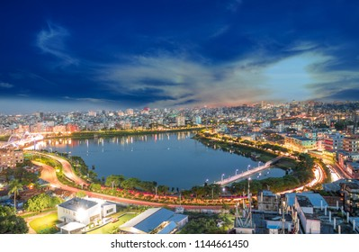 Building and Light at night with skyline of Dhaka city, Bangladesh