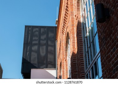 Building made of bricks with modern elements