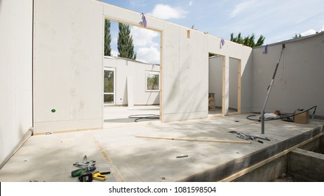 Building made with precast wall. Building concept