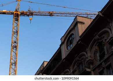 Building maintenance work in the center of the city of Bari, in Italy, in the university district.