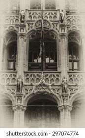 Building Maison du Roi (King's House, 1887) on Grand Place square (Grote Markt). Brussels, Belgium. Now this building houses Museum of City of Brussels (Museum van de Stad Brussel). Antique vintage.