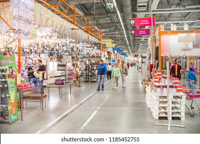 Building materials in the hardware store. People are looking for finishing materials for repairs in the house and apartment. Russia, Sverdlovsk, 10 September 2018