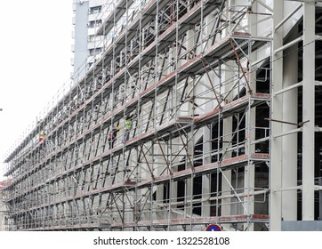 Building of a modern business building on the construction site