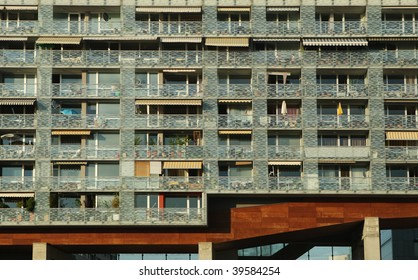 Building with modern flats with balconies