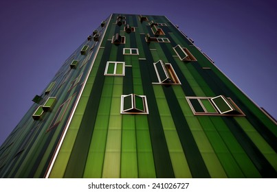 Building with multiple colors. Open and closed windows