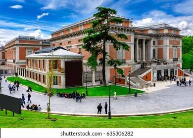 Building of Museo Nacional del Prado (Prado Museum)in Madrid, Spain. Prado Museum in Madrid is the main Spanish national art museum. Architecture and landmark of Madrid