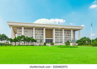 Building of National Assembly Proceeding Hall - South Korean Capitol building - located on Yeouido island - Seoul, Republic of Korea