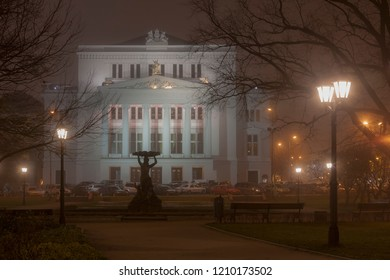 The building of the National Opera in Riga in the fog