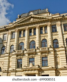 Building of national philharmonic in capital of Lithuania Vilnius. The old architecture with beautiful carving and decorative balconies