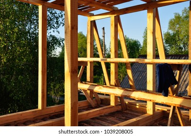 Building new wooden house, under construction work