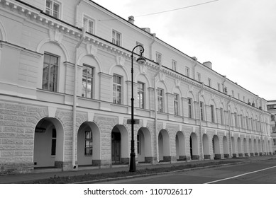 Building of the Novoberzhevy Gostiny Dvor in Saint Petersburg, Russia.. Now there is the Institute of philosophy and history of St. Petersburg State University. Black and white.