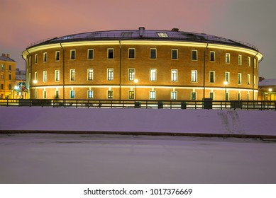 "The building of the old prison ""Bottle"" on the ""New Holland"" complex in the January evening"