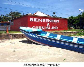 building on beach with welcome sign Brig Bay Big Corn Island Nicaragua