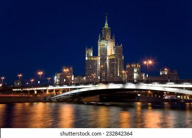 Building on Kotelnicheskaya embankment at night. Moscow