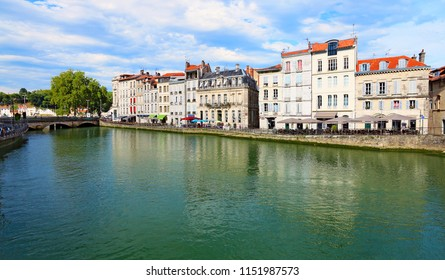 Building on the riverbank in Bayonne, France, Europe.
