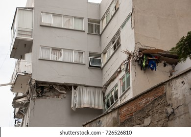 Building on the verge of collapsing; structural damage to a multi family building caused by a 7.1 magnitude earthquake that struck central Mexico on September 19th, 2017