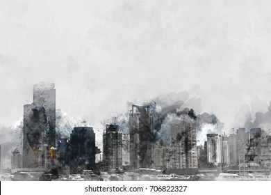 Building on watercolor background. City on watercolor background.