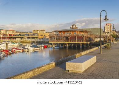 Building over columns on the sea in Marina of Vilagarcia de Arousa