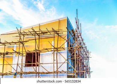 Building paint, scaffolding