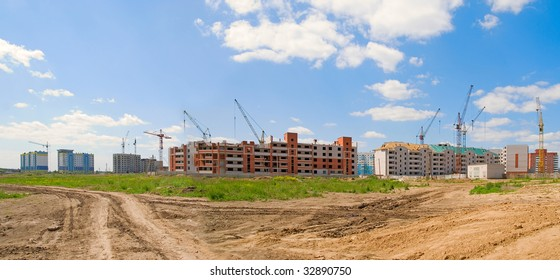 Building panorama on blue cloudy sky