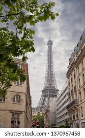 building in Paris near Eiffel Tower, France